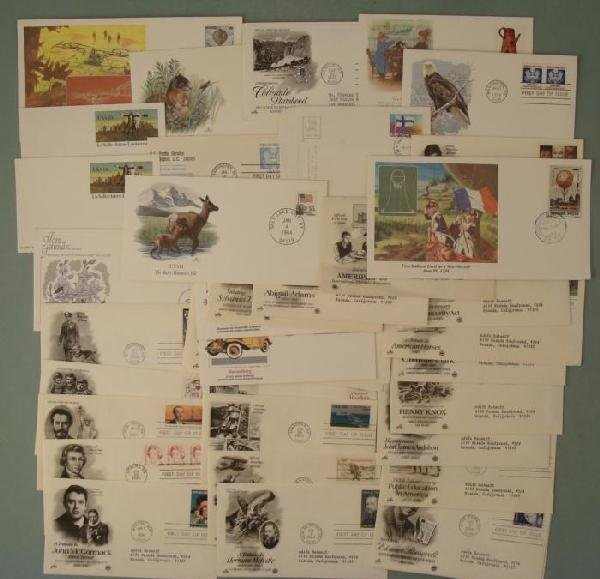 42 Asst First Day Cover Stamps History, Animals 1984-85