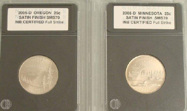 2 MS70 State Quarters 2005-D Oregon And Minnesota Coins