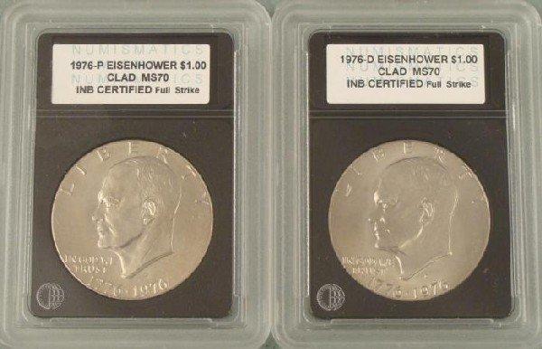 (2) Comm. Eisenhower Dollars 1976 P, D Slabbed Coins