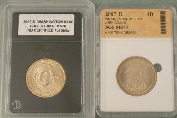 2007-D Washington, John Adams MS70 Presidential Coin
