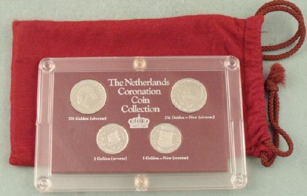 1980 Netherlands Coronation 4 Coin Collection w/ Pouch