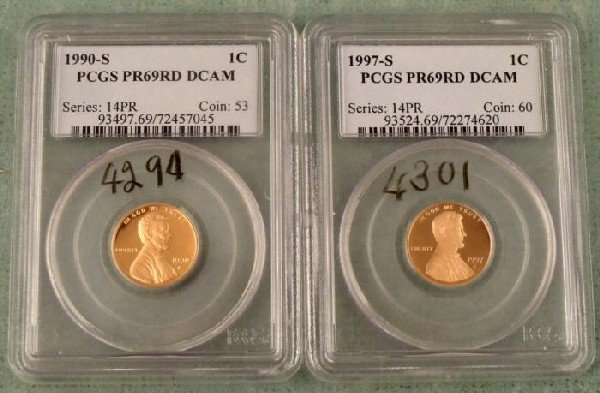 1990S, 1997S PCGS PR69 RD Decam Lincoln Proof Cents