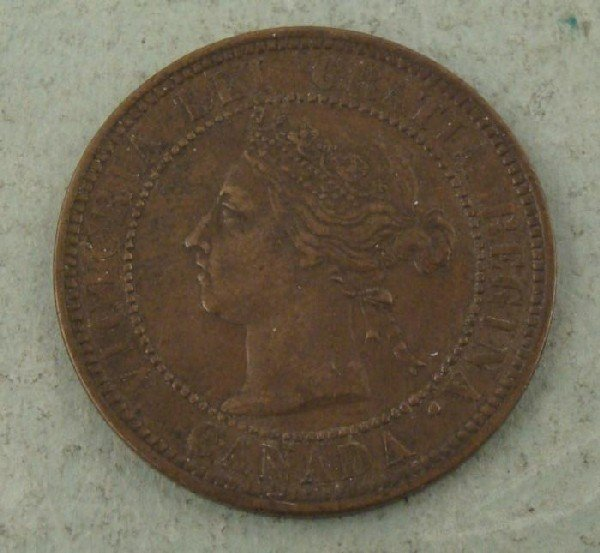 1891 Canadian Large Cent Very Strong Detail Coin