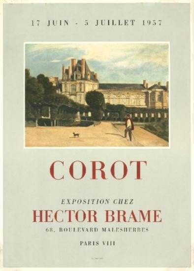 1957 Corot Exposition Chez Hector Brame Litho