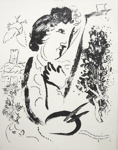1963 Chagall Before the Picture Mourlot Litho