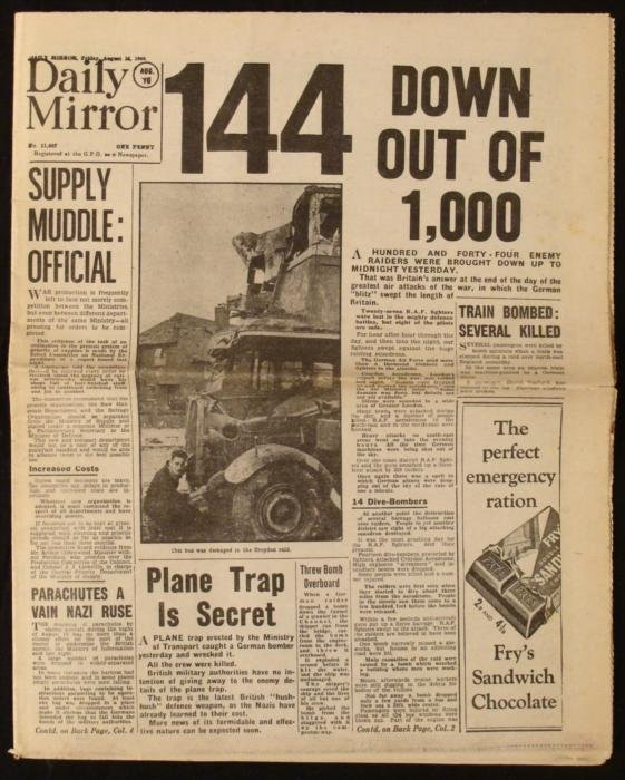 German Blitz Britain: WWII Daily Mirror UK Newspaper