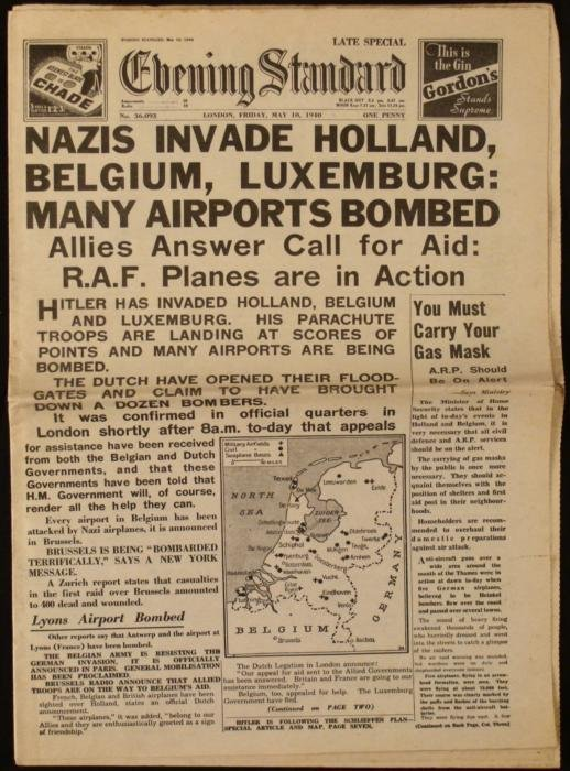 Nazis Invade Evening Standard UK Newspaper WWII 1940