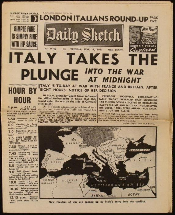 Italy in the War: WWII Daily Sketch UK Newspaper 1940