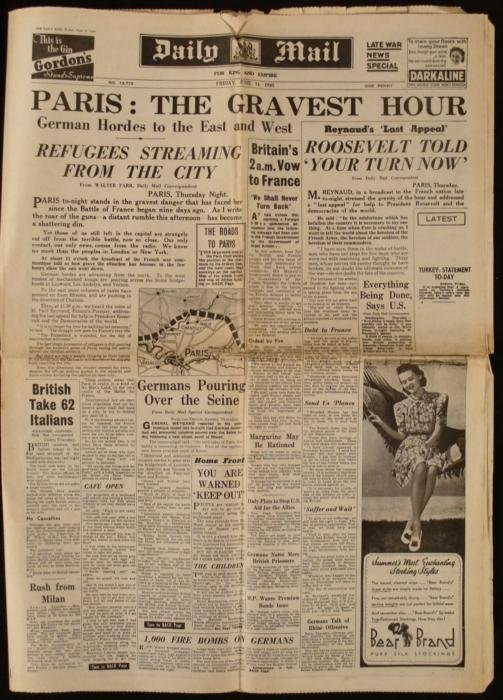 Paris Attacked: WWII Daily Mail UK Newspaper Roosevelt