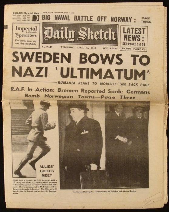 Nazis in Sweden: WWII Daily Sketch UK Newspaper 1940