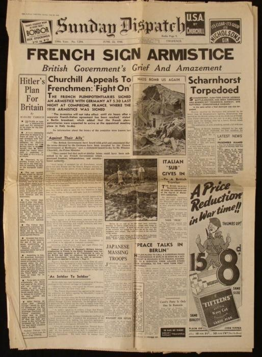 French Armistice WWII Sunday Dispatch UK Newspaper
