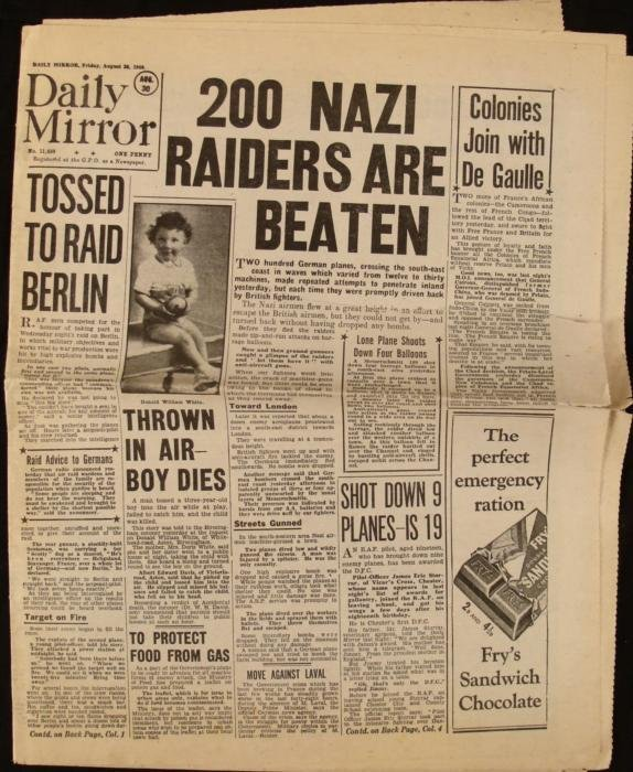 Nazi Raiders Churchill: WWII Daily Mirror UK Newspaper