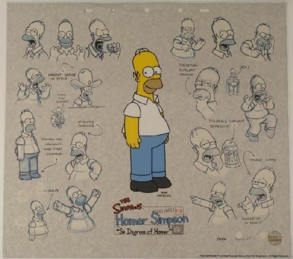 Homer Simpson Art Animation Sericel w/ Background
