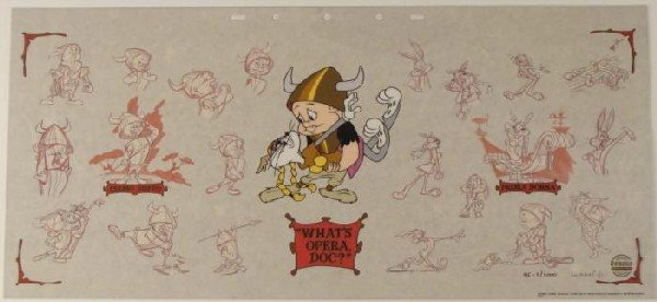Elmer Fudd and Bugs Bunny Sericel Art w/ Background