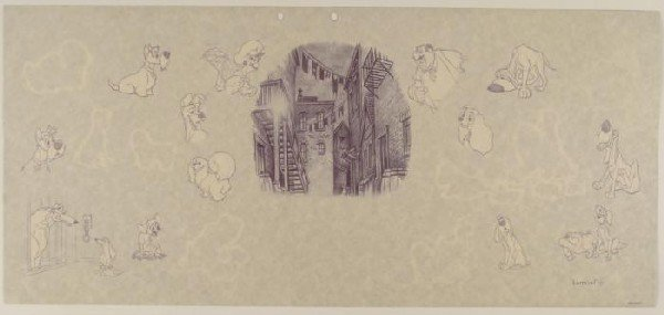 Disney Background Animation Art Lady and the Tramp