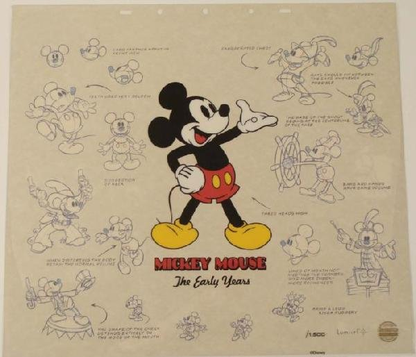 Mickey Mouse Walt Disney Art Sericel w/ Background
