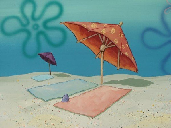 SpongeBob Original Background Animation Beach Art Towel - 2