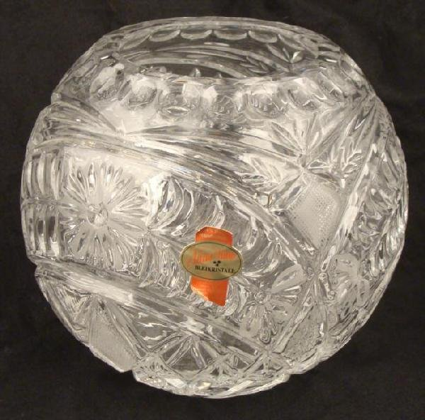 Anna Hutte Vintage Crystal Glass Globe Vase W. Germany