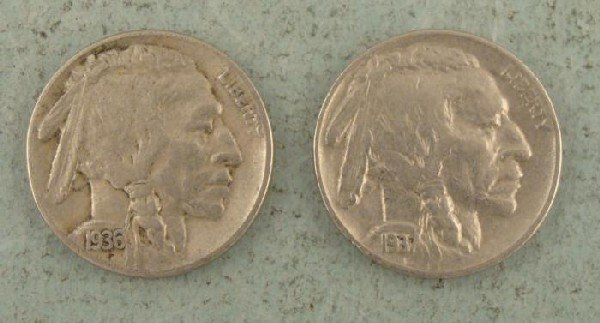 2 High Grade Buffalo Nickels 1936 +1937