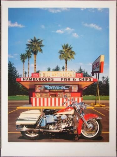 James Gucwa BILL & WANDAS Retro Harley Motorcycle Art