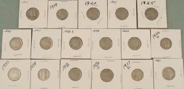 17 Different Date Buffalo Nickels 1917-1937-D