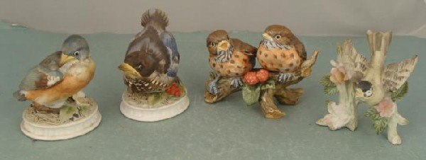 4 Vintage Porcelain Bird Figurines Lefton KW1637