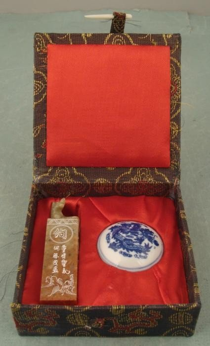 Chinese Fu Dog Wax Seal Vintage Soapstone in Box