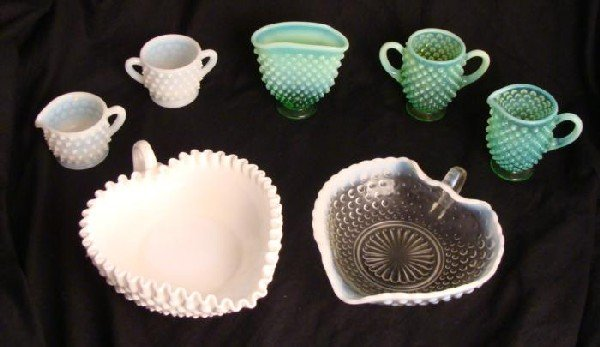 7 Pc Vintage Hobnail Glass Collection Cups Dishes