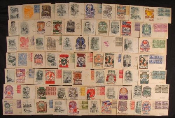 70 U.S. First Day Covers FDC Plate Blocks 1947-50