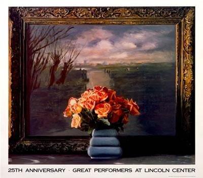 1990 Schonzeit Roses w/ Dutch Landscape Serigraph