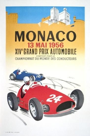 Ramel Monaco Grand Prix 1956 Lithograph