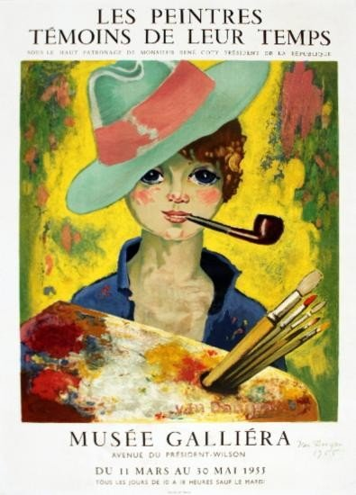 Signed 1955 van Dongen Jean-Marie w/ Hat & Pipe Litho