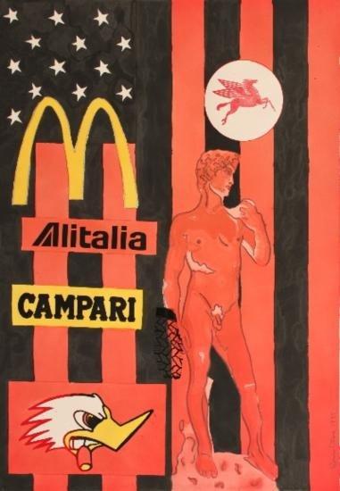 Signed 1987 Cutrone Alitalia Campari Watercolor