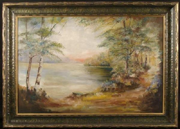 Original Vintage Oil Painting Lake Landscape Framed