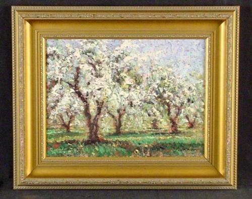 Framed Sammoun APPLES IN SPRING Landscape Art Canvas