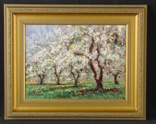 Framed Sammoun MORNING IN MAY Landscape Art Canvas