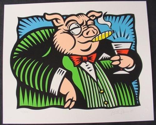 PIG Morris HERD ON Wall STREET Pop Art Stock Market