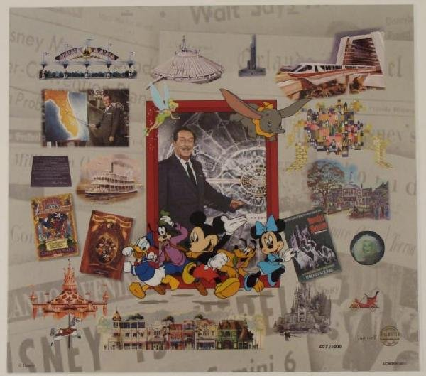 Walt Disney World Collage Sericel Animation Art Mickey