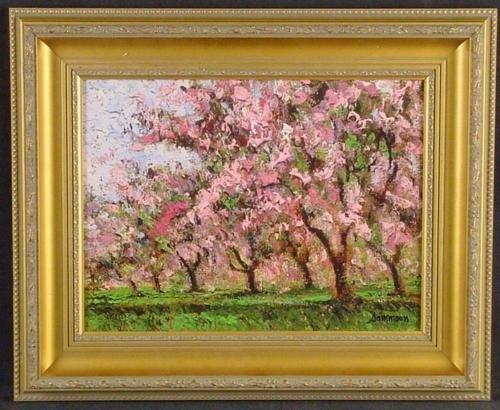 Gold Frame CHERRY TREES IN BLOOM Sammoun Canvas Art