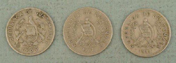 3 Guatemala 10 Centavos Coins 1969-1988