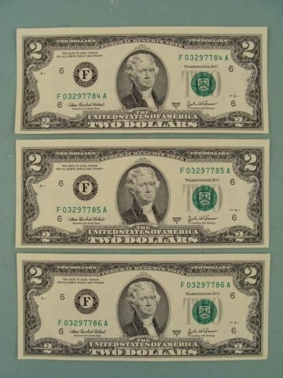 3 Consec # CU 2003 A $2 Bills Notes F Mint Atlanta