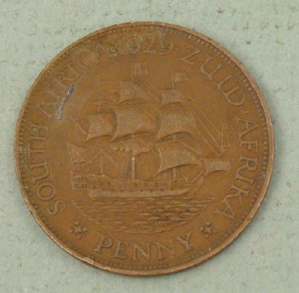 South Africa 1929 One Penny Coin Good Detail