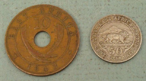 2 East Africa Coins 10 & 50 Cents 1943 WWII 1948