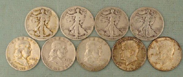 9 Diff Date US Silver Half Dollars 1936-1964 Franklin +
