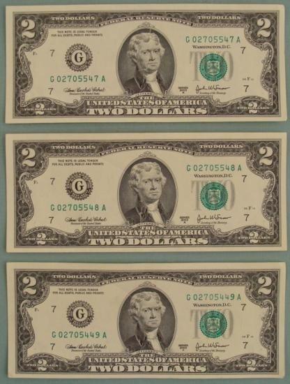 3 Consecutive # 2003 A $2 Bills Notes G Mint Chicago CU