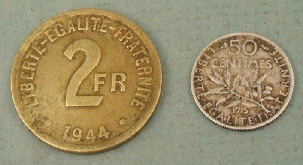 France 1944 Copper 2 Francs, 1915 Silver 50 Centimes