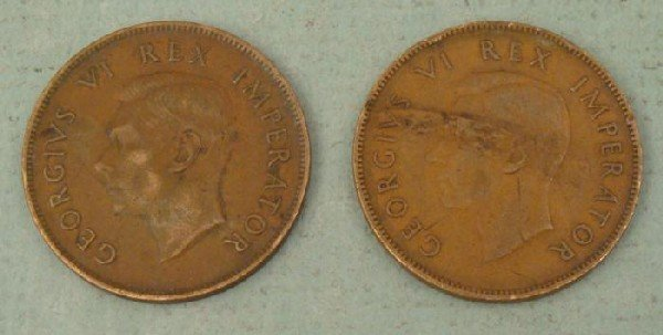 2 South Africa Coins One Penny 1941 (WWII,) 1946