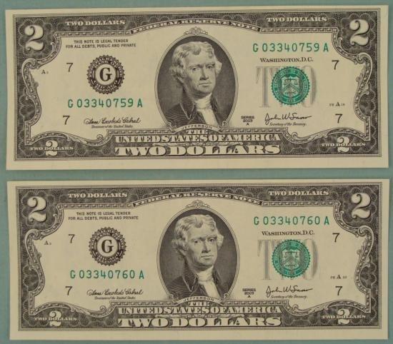 2 Consec # CU 2003 A $2 Bills Notes G Mint Chicago