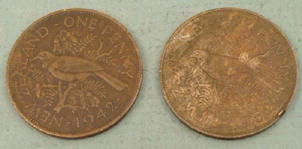 2 New Zealand One Penny Coins 1942 WWII, 1952