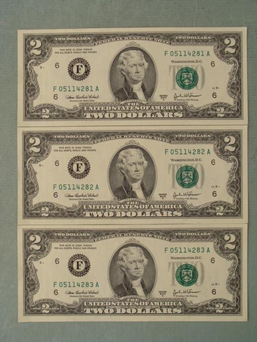 3 Consec # 2003A $2 Notes F Mint Bills Atlanta CU
